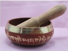 Red Copper Crafted Gold Gilt wonderful Chakra Singing Bowl Meditation Size 5*8.5cm Antique Garden Decoration Silver Brass