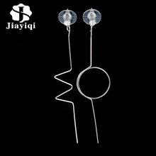 2017 Punk Silver Color Asymmetric Round Ear Chains Dangle Earrings Long Earrings For Women Pendientes Jewelry Wholesale