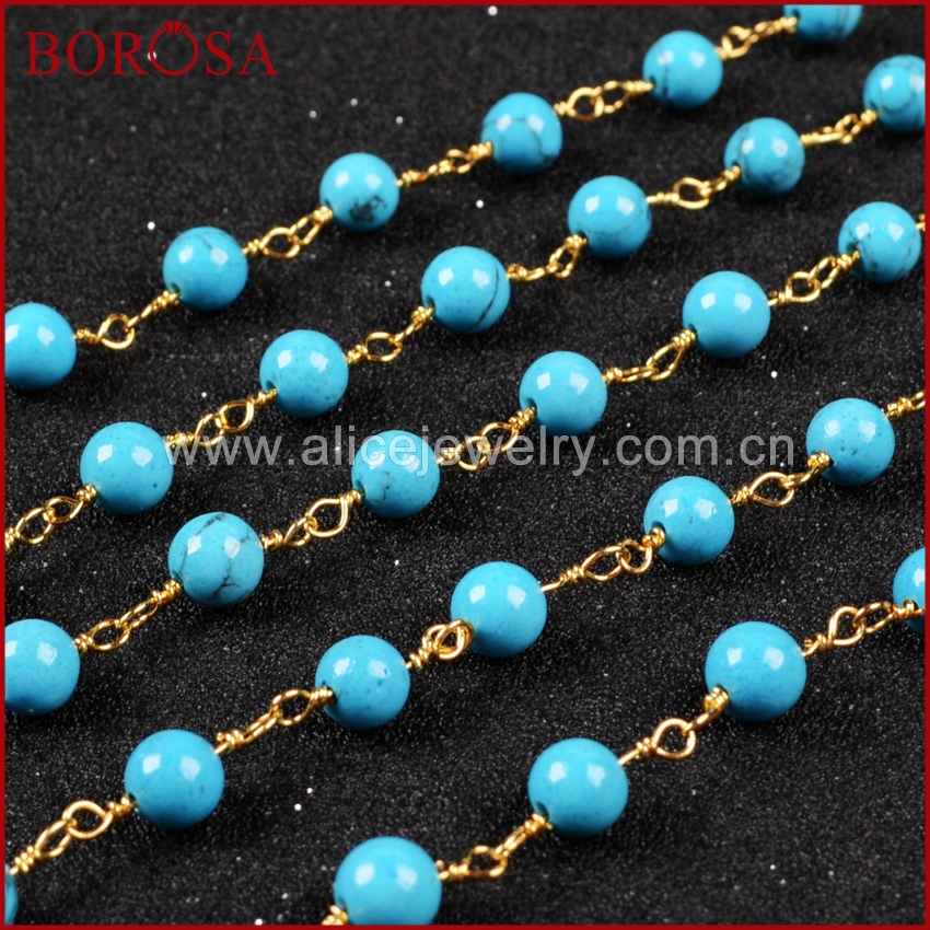 BOROSA New Gold Color Silver Color Round Blue Howlite Stone Beaded Chains Fashion Jewelry Making JT084
