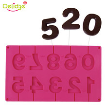Delidge Fashion Number 0-9 3D Lollipop Silicone Fondant Mold Pastry Candy Craft Tool Wedding Cake Decorating Mold DIY Cake Tools