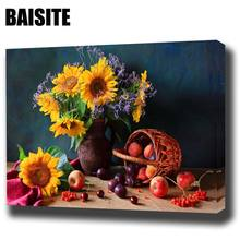 BAISITE DIY Framed Oil Painting By Numbers Flowers Pictures Canvas Painting For Living Room Wall Art Home Decor E772(China)