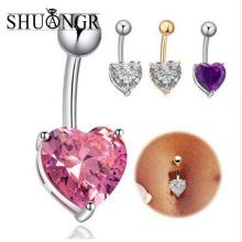 Buy SHUANGR New AAA Zircon Jeweled Style Belly Button Ring Body Piercing Jewelry Navel Piercing 316L Stainless steel Belly Earrings for $1.46 in AliExpress store