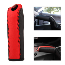 DWCX 1Pc New Anti-slip Genuine Leather Auto Handbrake Cover Trim Fit for Ford Mustang 2015 2016 Car Accessories(China)