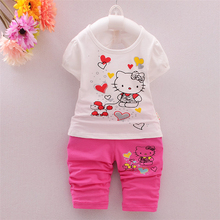 Children Girl Fashion Brand hello kitty Suits Summer Baby Girls T-shirt pants 2pcs/sets Baby  Clothes Sets Vestiti Delle Ragazze