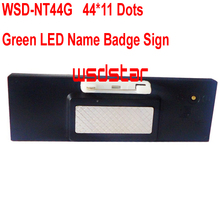 WSD-NT44G Green LED Name Badge Sign Rechargeable Green LED name tag led name badge 44*11 Temperature display function 2pcs/lot(China)