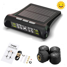 Solar Power Vehicle Car Tire Tyre Pressure Monitoring System Wireless Auto TPMS Alarm Warning With 4 Sensors BAR PSI LCD Display