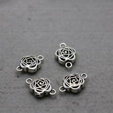 10PCS Hot Wholesale Accessory buttons Fittings for snaps Flowers components 15x23mm Findings Jewelry Making Design Silver-plate