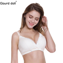 Gourd doll 34-42 Breast feeding Cotton Maternity Nursing Bra for feeding pregnant women wire free Adjusted-straps clothing(China)