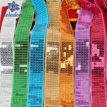 5 Yard Shiny Sequin Ribbon Lace Trim Ribbon For Sewing Latin Dance Dress/Costume Decoration DIY Apparel Accessory