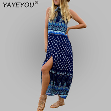 Sexy Boho Dress Floral Prints Summer Dress Sleeveless Split Maxi Beach Chic Casual Hippie Women Dresses