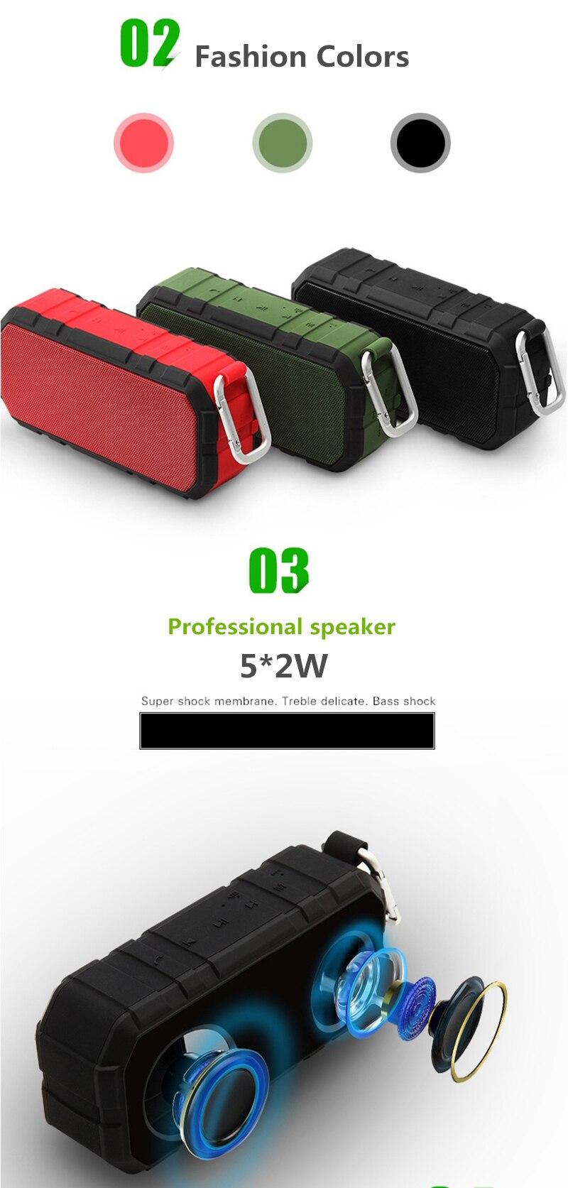 OLLLY Portable Wireless Outdoor Bluetooth Speaker IPX6 Waterproof Dual 10W Driversf , Enhanced Bass, Built in Mic,Waterproof