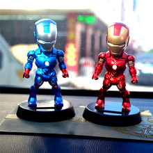 POPIGIST Marvel Avengers 5-Inch Iron Man Solar Powered Bobble-Head Action Relaxation Toy For Car Home Office.Limited Edition(China)