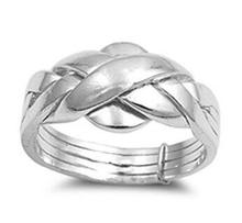 925 sterling silver engagement & wedding ring 4 band ring puzzle ring for woman, man, boy and girl size 4-12