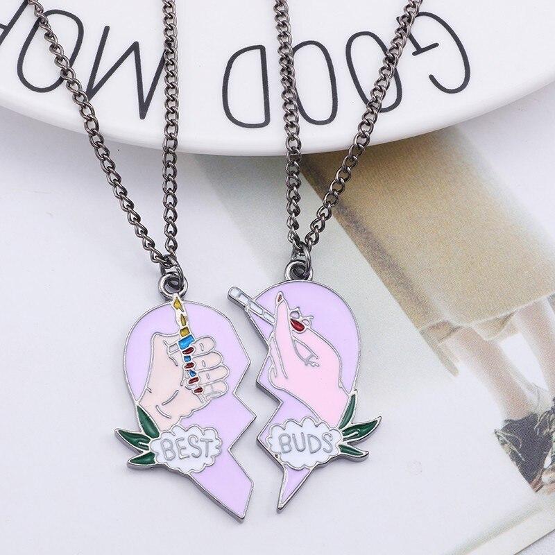 2pcs-set-Cigarette-Lighter-BEST-BUDS-Necklace-Women-Best-Friends-Necklaces-Enamel-Pink-Broken-Heart-Pendant