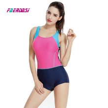 Faerdasi Patchwork Bathing suit Competition Swimsuit Women One Piece Swimwear Sexy Sports Swim suits Monokini Boxer Beachwear
