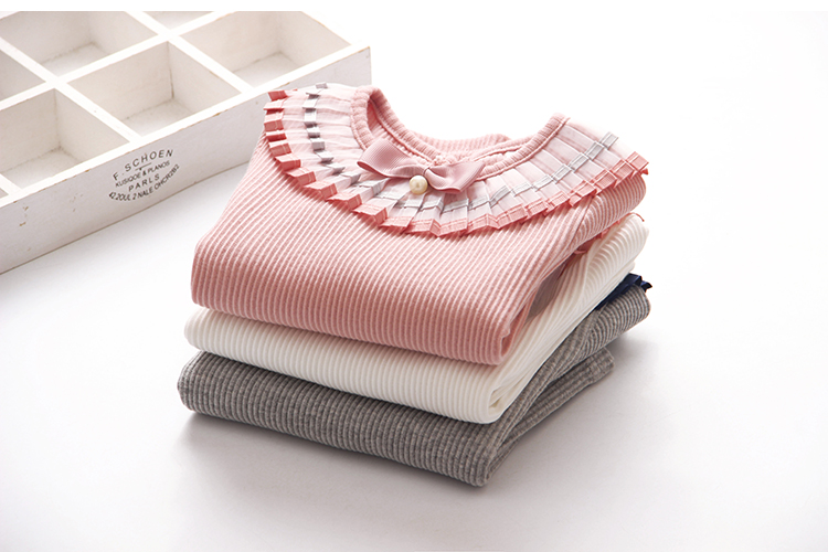 2018 Spring Autumn 100% Cotton White Grey Pink Solid Color Long Sleeve Pleated Turn-Down Collar Neck T Shirt For Girls 10 Years (13)