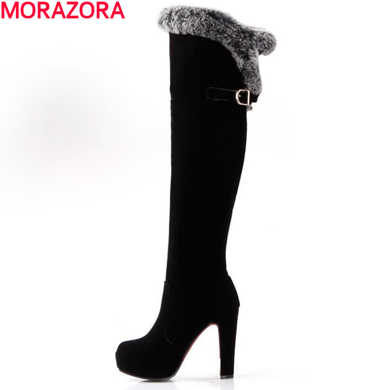 Plus size 34-43 over the knee boots for ladies round toe high heels women boots thick high heels snow boots<br><br>Aliexpress