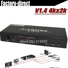 Free shipping New HDMI V1.4a  HDMI Matrix 4X2 (4 to 2) Switch Switcher Splitter Amplifier 3D,4kX2k, 48bite deep color