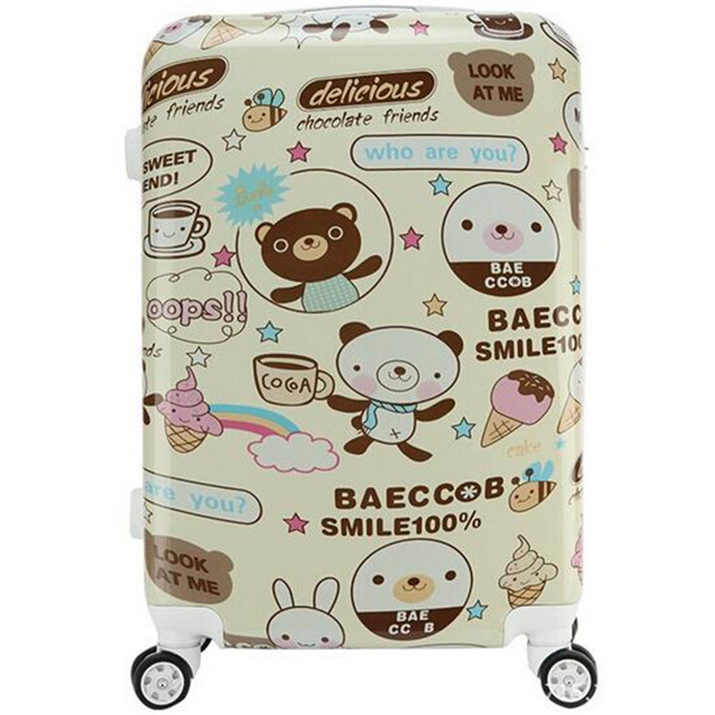Hot new fashion shiny face cartoon trolley ABS trolley suitcase men and women of high-quality luggage set 2024 inches<br><br>Aliexpress
