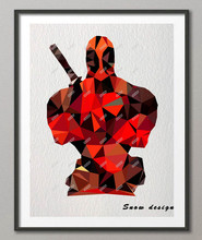 Low Poly Modern Geometric Deadpool Canvas painting wall Art Poster Print Pictures Living room Decor wall hanging Christmas gifts