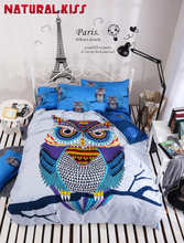 Summer New High Quality Cotton owl cartoon home 4pc Children Bedroom Bedding sets Duvet cover Quilt Bedding Bed sheet Pillowcase