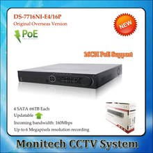 Buy Hik Updatable English Version DS-7716NI-E4/16P 16CH NVR 16POE Interface IP Camera Surveillance Video Recorder 4SATA fo HDD for $300.91 in AliExpress store