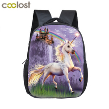 12 Inch Cartoon Unicorn School Backpack Schoolbags Girls Boys Rainbow Pony Children School Bags Kindergarten Toddler Backpack