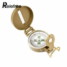 relefree hot Camping Hiking Portable Brass Pocket Golden Compass Navigation for Outdoor Activities Ranging Tool(China)