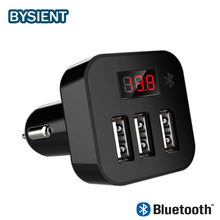 3 Port Car Charger for Phone Tablet iPhone iPad Fast Car Charger LED Display Car-Charger with Bluetooth Navigation 5v 2A charge(China)