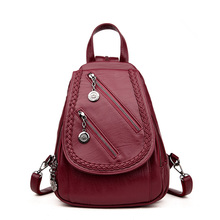Designer High Quality Women Vintage Leather Solid School Bags Mochilas Mujer Sac A Main Travel Daily Backpacks For Teenage Girls