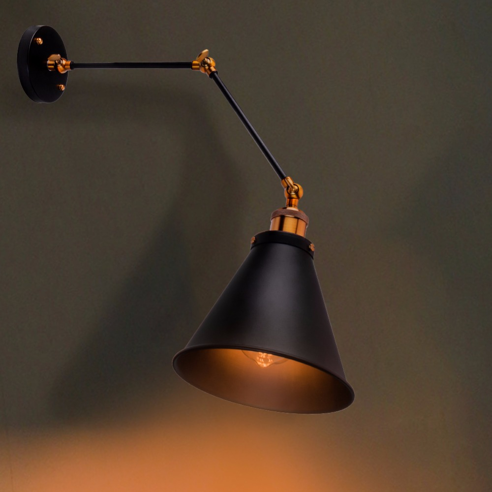 Lamp American Country Scone Light Plated Loft Retro Vintage Iron Wall Lamp 40W Antique Industrial Wall Lamp<br>