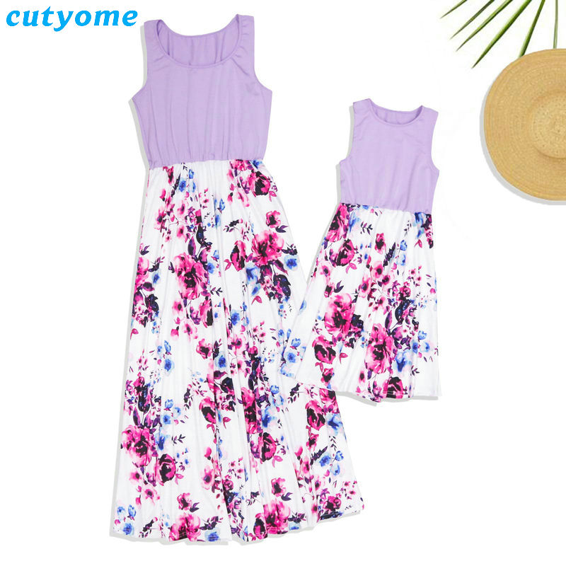 Summer Family Matching Outfits Mother and Daughter Dresses Patchwork Dress Kids Mom Daughter Floral Dress Matching Clothes 2018 (5)