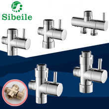 SBLE Chrome 3 Way Bathroom Toilet Bidet 3/4'' 1/2'' T-adapter Shower Diverter Valve Shower Faucet Tee Connector Shattaf Valve(China)