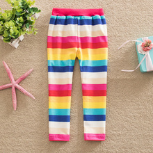 5 PCS/lot!Comfortable neat and 2015 new style multiple color line my rainbow stripe cartoon 100% cotton girl star pants F5088