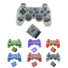 Transparent Color Bluetooth Wireless Controller For Sony Playstation 2 Gamepad 2.4G Vibration Controle For Sony PS2 Joystick(China)