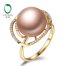 18k Yellow Gold precious 12-13mm Round Freshwater Pearl Ring 0.18ct Natural Diamond manufacturer Free Shipping(China)