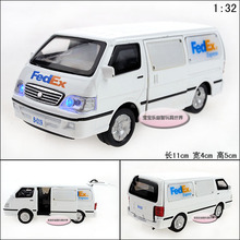 Candice guo alloy car model transporter van minibus express truck 120 ambulance vehicle plastic motor kid birthday gift toy 1pc