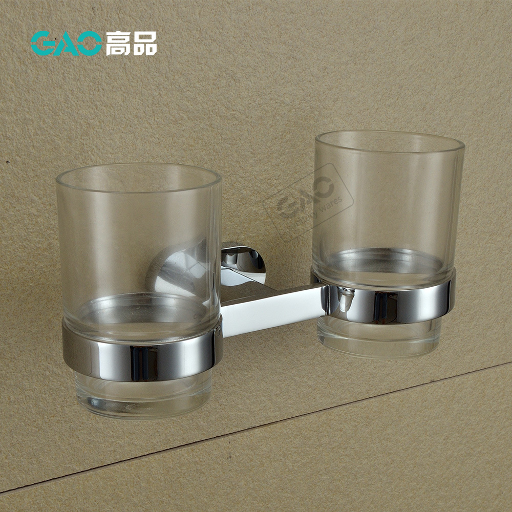 Free Shipping Double Tumbler Holders,Toothbrush Cup Holder, Solid Brass With Chrome Finish &amp; Glass Cup,Bathroom Accessories<br><br>Aliexpress