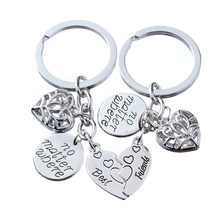 2P BFF Charm Keychain Car Heart Pendant Holder Lanyard Key Chain Keyfob Best Friends Friendship Couples Lover Valentine Gift New