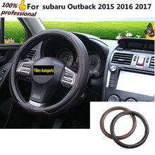 Car Steering Wheel Cover Auto Car Stitch On Wrap WIth Needles&Thread 2 Colors DIY Leather For subaru Outback 2015 2016 2017(China)