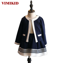 VIMIKID 2017 Autumn kids Clothes Girls Clothing Set Navy Blue Short Jacket and Skirts Suits Children Formal School Uniform(China)