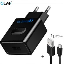 OLAF Quick Charge 3.0 USB Charger Fast Charger QC3.0 Charging USB Cable Portable EU Mobile Phone Charger Adapter Iphone