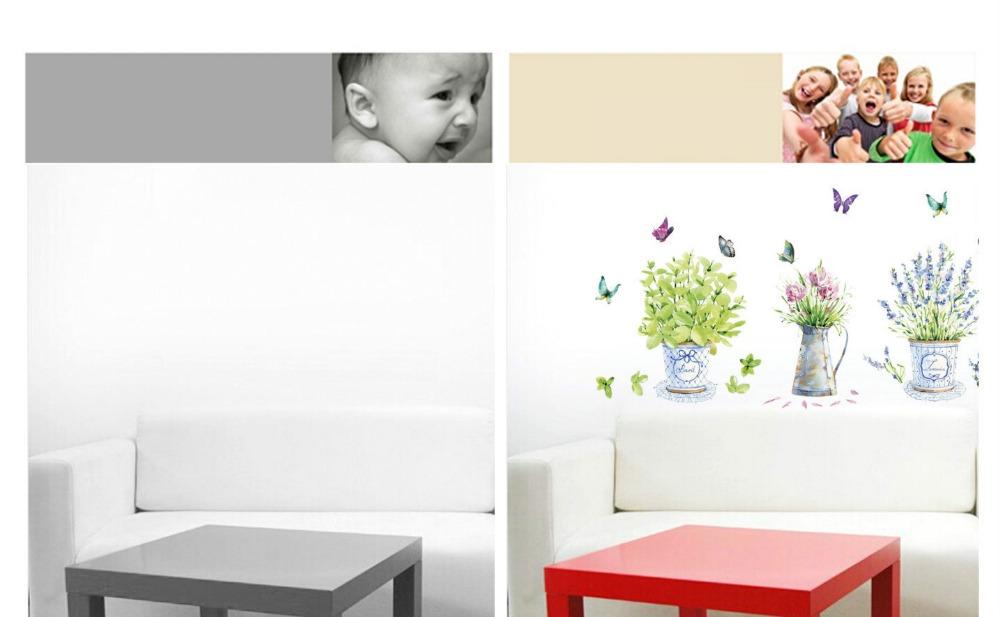 HTB1SsmudnZRMeJjSspoq6ACOFXaU - DIY wall stickers home decor potted flower pot butterfly kitchen window glass
