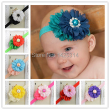 Two Chiffon Flowers With Colorful Diamond pearl Bebes girls headbands Cute Bebes Headwear Bright Color Infantil accessories hair(China)