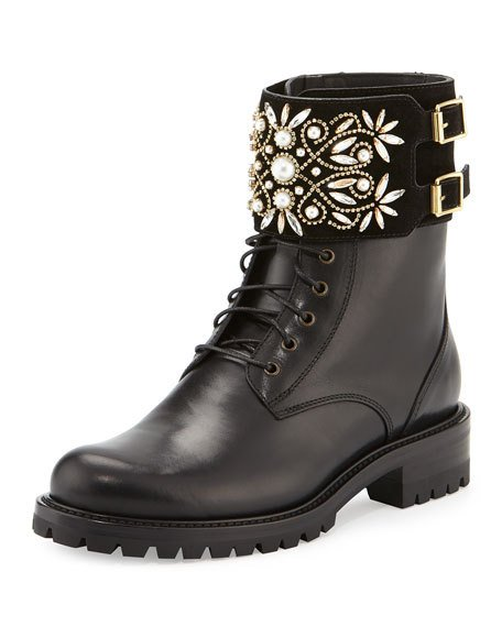 2016 fall Crystal-Cuff Leather Biker Boot, women Black Crystal-embellished suede buckle cuff lace up Jeweled Combat Boots <br><br>Aliexpress