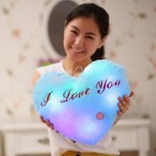 Kawaii Plush Pillow Toys Heart Luminous Pillow Christmas Toys Led Light Pillow Children Kids Toys Birthday Gift