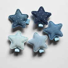 White Dot 20pcs/lot Cowboy 5 Colors Hair Accessories Star Shape Kids Hairpins Stars Cowboy Girls Hair Barrette Naby blue