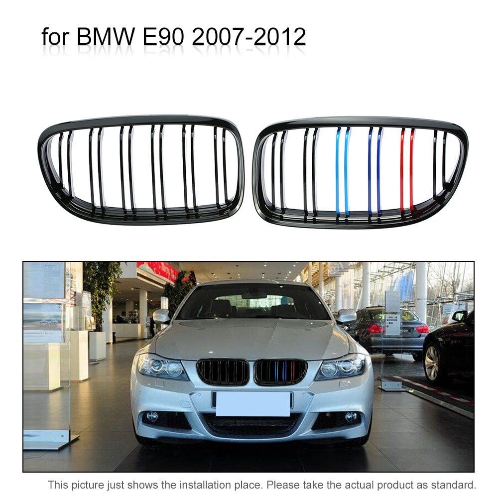 Pair of Gloss Black M-color Car Front Grille Grilles with Double Line for BMW E90 2007-2012(China)