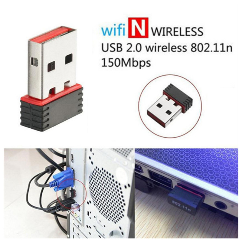 Mini USB 2.0 802.11n 150Mbps Wifi Network  Adapter for Windows Linux PC Supports 64/128 bit WEP, WPA encryption 9.14