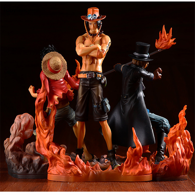 Tobyfancy One Piece Figure Japan Anime Figure Ace Luffy Sabo DXF One Piece Action Figure PVC Cartoon Figurine One Piece Toys(China)